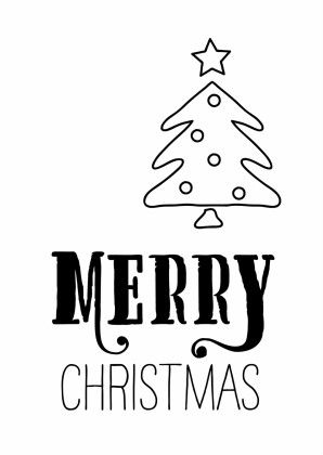 Hippe kerstkaart met Handettering Merry Christmas en tekening kerstboom.
