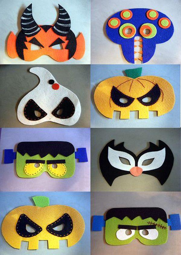 子供にはフェルト生地で作った、こんな仮面でハロウィンパーティを迎えましょう。