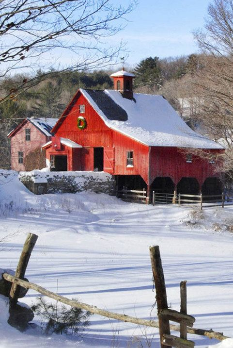 Great Barn & Tire Tracts In The Snow