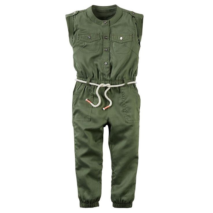 Toddler Girl Carter's Olive Utility Jumpsuit, Green Oth