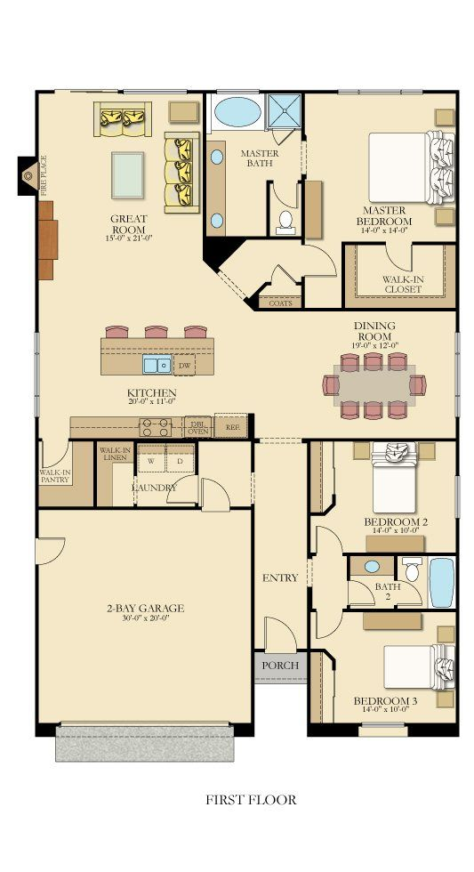 1940+ sq ft Residence | Extend kitchen island to wall on left; Add semi-wall to enclose dining room; Move bedrooms 2 & 3 down & right to widen entry hall & dining room; 3-car garage; Merge laundry room & mudroom; Walk-in closets for Bedrooms 2 & 3; Move new peninsula up and add island; Add garage space up to left side of pantry; Extend great room & kitchen to left; Add cellar (beneath kitchen) accessible by dead space in master suite and garage