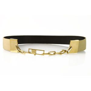 """Gucci Gold Texture Canvas & Leather Gold """"G"""" Chain Clip Belt Size 85/34"""