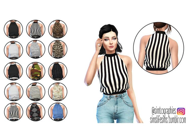 The Sims 4 High Neck Top (Mesh) by simtographies Available at The Sims Resource DOWNLOAD – NEW MESH.– 15 swatches.– Base game compatible.– Don't re-edit, reupload or claim as your own.– Recolors allowed, but just don't include the mesh. Follow the simblr simslifesims.tumblr.com for more cc. Type: Tops Recoloring Allowed: Yes – Do not include mesh Creating Tool used: Sims4Studio ID: SC4-101517 Category Tags: Clothing , Fashion , Women's Top , Everyday , Female , …