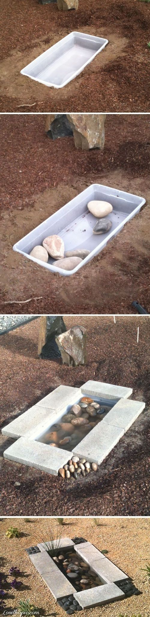 Fun water garden feature decorated with lots of stones - #DIYGardenIdeas