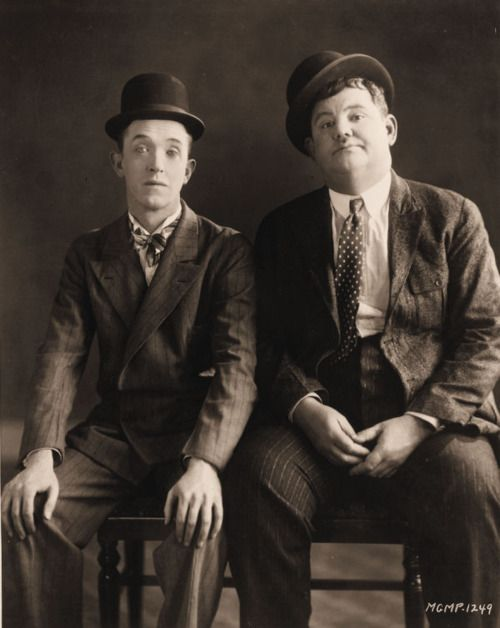 Stan Laurel and Oliver Hardy ~ Composed of thin Englishman Stan Laurel (1890–1965) and heavy American Oliver Hardy (1892–1957), they became well known during the late 1920s to the mid-1940s for their slapstick comedy, with Laurel playing the clumsy and childlike friend of the pompous Hardy.[1] They made over 100 films together, initially two-reelers (short films) before expanding into feature length films in the 1930s.