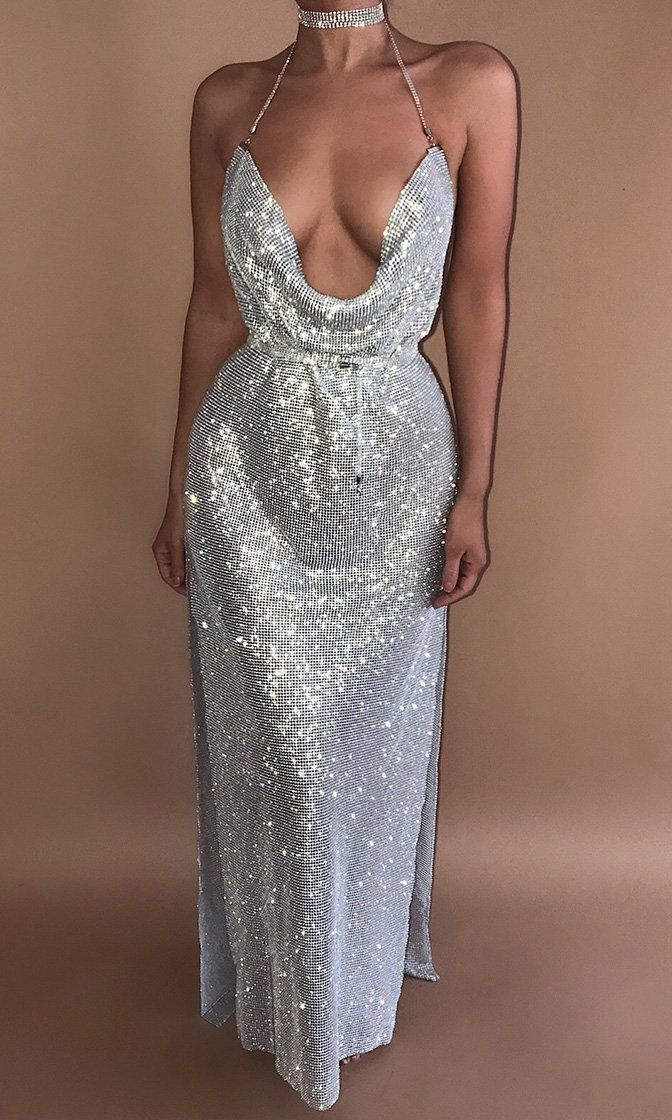 a1838fdeea Remember Tonight Silver Rhinestone Metallic Sleeveless Spaghetti Strap V  Neck Backless Cut Out Slit Maxi Dress