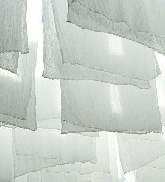 Hanging white muslin
