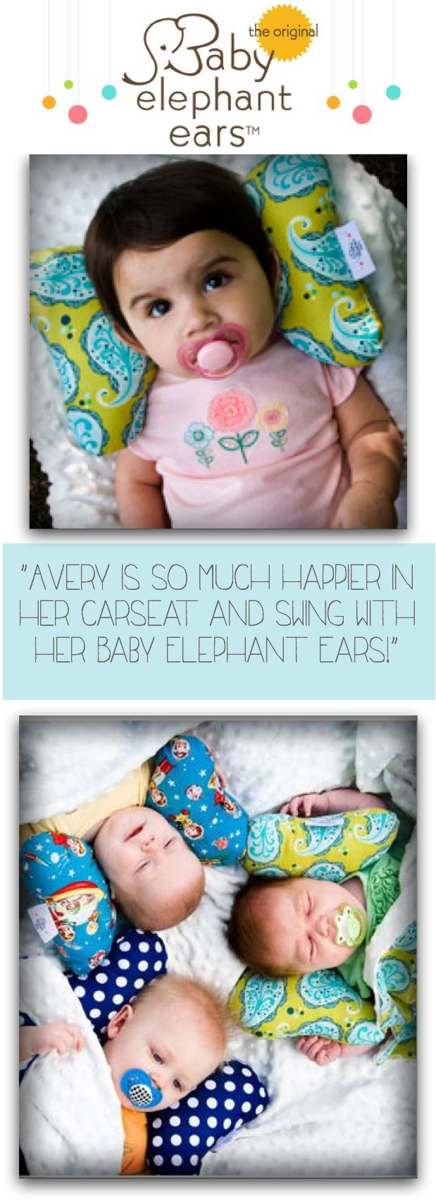 An awesome tool for fussy babies! Baby Elephant Ears support baby's neck in the carseat, stroller, bouncy chair, etc. while their little neck muscles are developing.  Prevents that uncomfortable looking baby slump that leads to uneven muscle tone and flat spots on baby's head! http://www.shopteenybee.com/search/results?q=support%20pillow $21.95