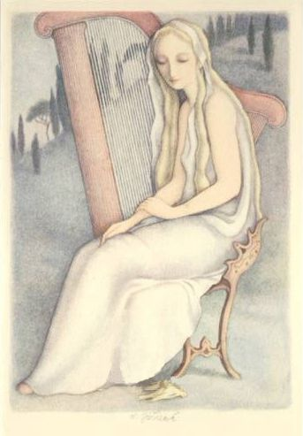 """Ludmila Jiřincová: """"Harpist"""", helio-engraving, 16 x 12 cm, 1942.   Signed L. Jiřincová."""