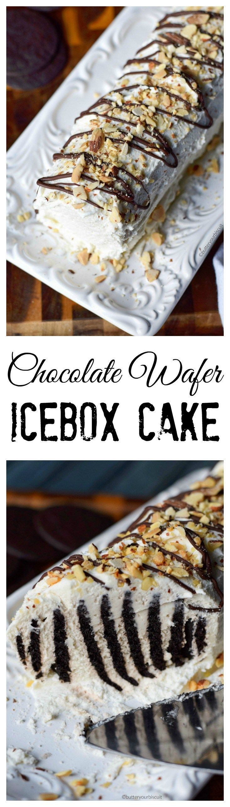 This chocolate wafer icebox cake recipe is a delicious combination of cookies and whipped cream.