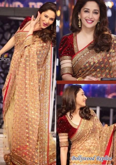 Bollywood Actress Madhuri Dixit Net Saree in Beige color