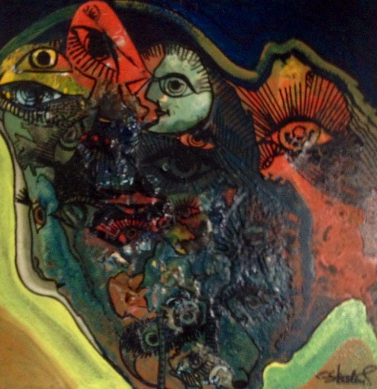 Schilderij god ziet u van Carlos Staelens. Verveloide.