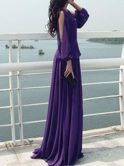 Purple Split Long Sleeve Layered Maxi Dress | Choies