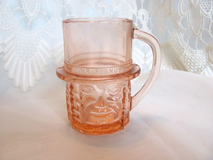 Planters Peanuts Mr. Peanut Pink Glass Cup by VintageLoversShop on Etsy