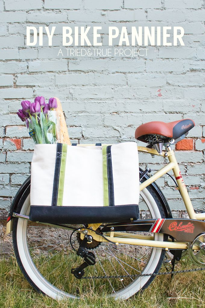 Quick trips to the grocery store are so much easier with this DIY Bike Pannier! Easy to customize tutorial that would work with almost any bag. #RideColumbia #Pmedia #ad @columbiabicycle