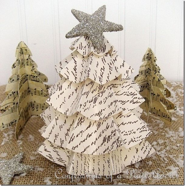 Last Minute Christmas...Easy Vintage Paper Trees & 290 best Christmas-Ornaments Decorations images on Pinterest ...