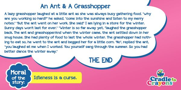 #StoryOfTheDay An Ant & A Grasshopper #Kids #Gurgaon  #kids #children #child #parents #toddler #kindergarten  #story http://cradletocrayons.edu.in/