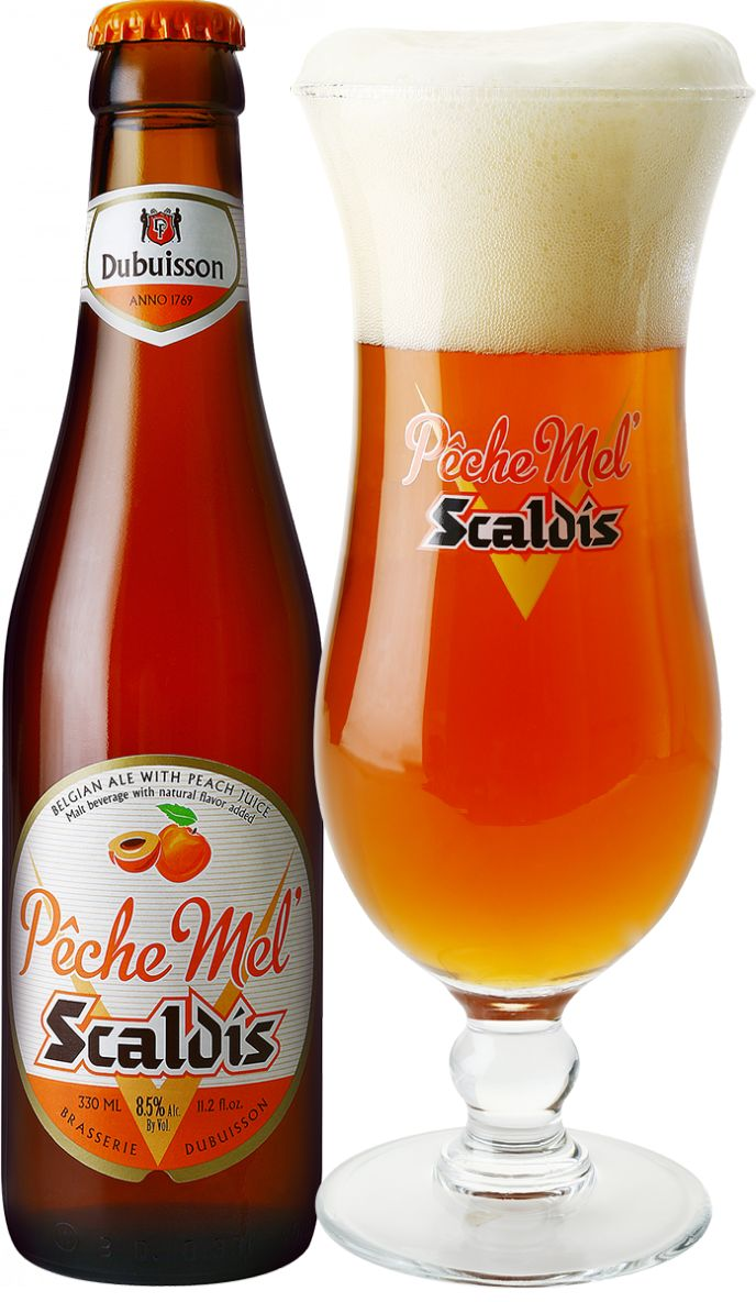 Where the strongest Belgian beer and the taste of peaches come together... The Pêche Mel Scaldis was born as a popular student cocktail. Now, it is a combination of the Scaldis Amber and a peach beer.