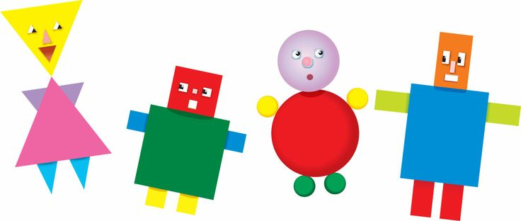 The Shape Kids consisting of Theresa Triangle, Steven Square, Carla Circle and Richard Rectangle, 4 wooden magnetic toys, fun and educational for ages 3 to 6