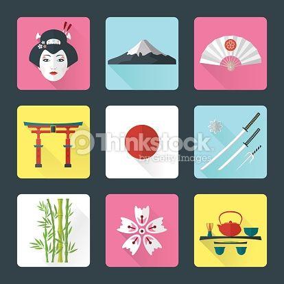 Clipart vectoriel : flat japan icons set