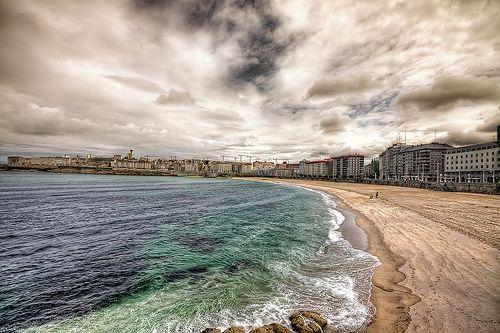 Playa Riazor, Á Coruña, España