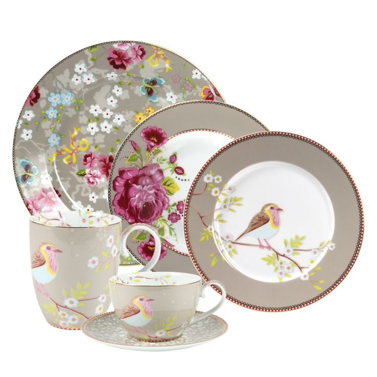 PiP Studio - (Front to Back) 'Early Birds', 'Big Floral', & 'Chinese Rose' Mix-&-Match Collections, Khaki