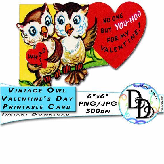 Valentine's Day Card Owl Couple Vintage Greeting Card Victorian Animal Illustration Printable Instant Download Digital Clipart Image - by DistinctlyDigital