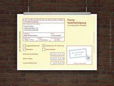 Witzige Einladung Partybescheinigung Kostenlos Gestalten Und Selbst  Ausdrucken! Einfach Vorlage Personalisieren, PDF Druckvorlage Kostenlos  Herunterladen ...