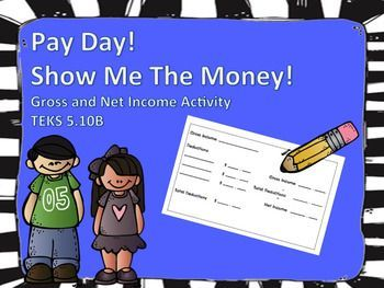 This activity will have students working together to determine the Net Income after Deductions have been taken out of Gross Pay.  Students can work in pairs, alone, in small group or tutoring! Activity comes with-Blank Pay ChecksGross Income CardsDeduction CardsTeacher and Students InstructionsActivity also comes with an EXIT TICKET!!!!