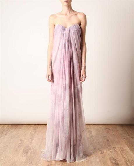 Alexander Mcqueen Draped Silk Bustier Gown in Pink (purple multi) - Lyst