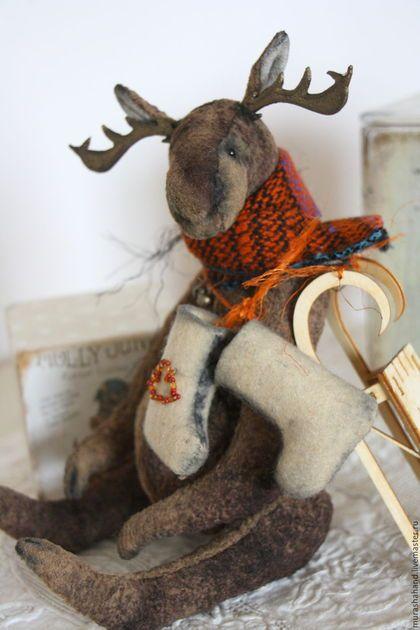 Мишки Тедди ручной работы. Ярмарка Мастеров - ручная работа. Купить Просто Лось.. просто скоро зима..28 ( 18 сидя) (мишки тедди). Handmade.