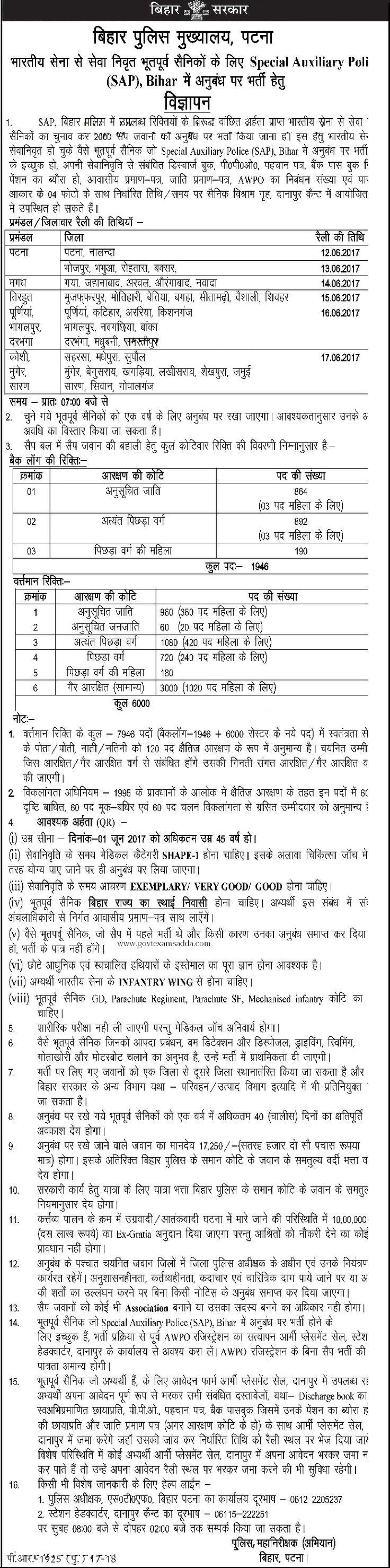 Bihar SAP Recruitment 2017, Bihar Police 7946 Special Auxiliary Police Vacancies Rally, Bihar Police online Application Form 2017, check eligibility PST