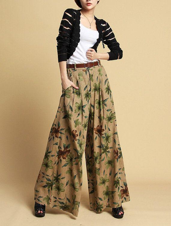 Coffee grounding flower pants women linen pants by happyfamilyjudy, $86.99