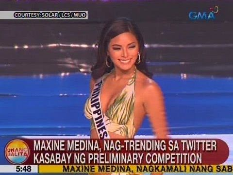 UB: Maxine Medina, nag-trending sa Twitter kasabay ng preliminary competition - WATCH VIDEO HERE -> http://philippinesonline.info/entertainment/ub-maxine-medina-nag-trending-sa-twitter-kasabay-ng-preliminary-competition/   Unang Balita is the news segment of GMA Network's daily morning program, Unang Hirit. It's anchored by Rhea Santos and Arnold Clavio, and airs on GMA-7 Mondays to Fridays at 5:15 AM (PHL Time).  For more videos from Unang Balita, visit  Subscri