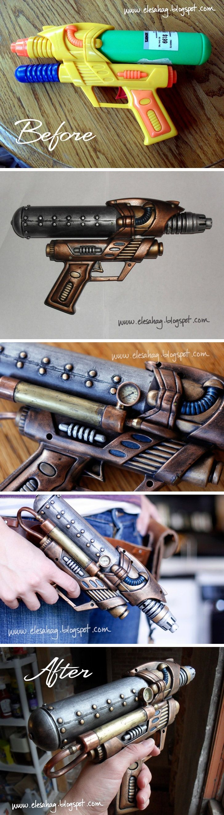 How to steampunk a water gun. soo cool! Probably painted black and colored with rub and buff.