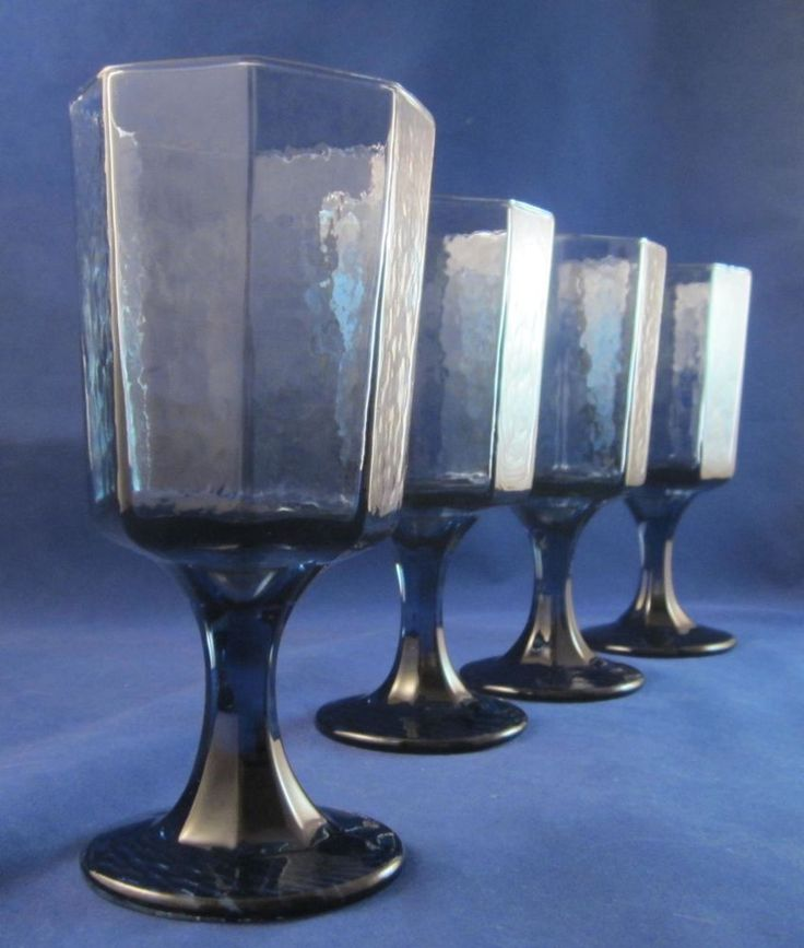 4 libbey rock sharpe water goblets glasses facets pattern cobalt blue - Water Goblets