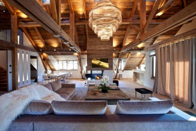 Dachwohnung holz-balken möbelgruppe-kronleuchter design Iced-Winter
