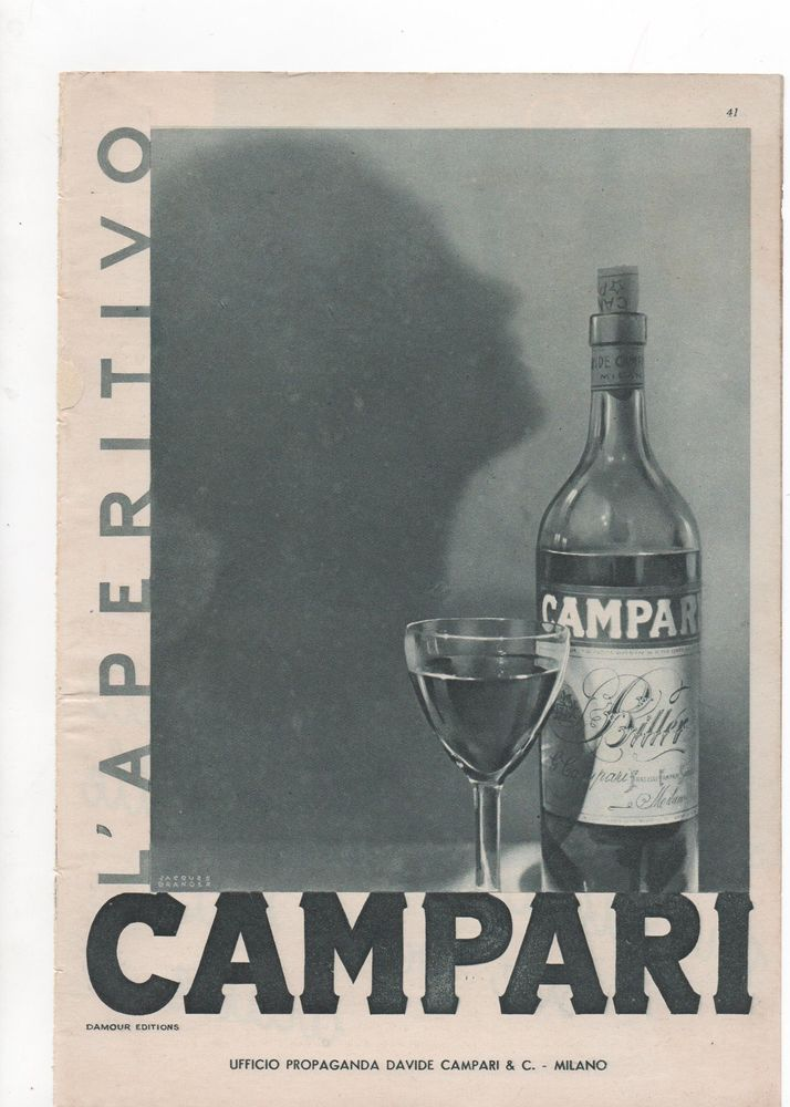 Pubblicità vintage CAMPARI BITTER MILANO advertising reklame werbung publicitè