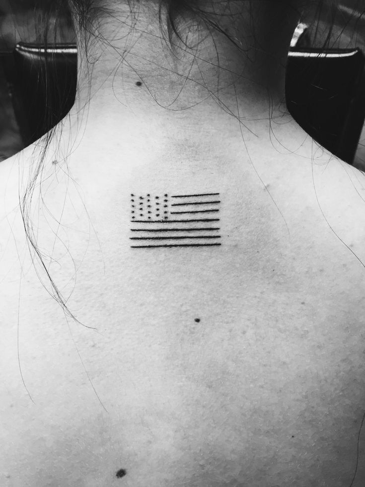simple American flag tattoo black and white