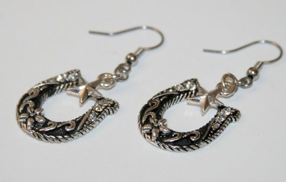 Lucky Horseshoe and Star Western Earrings with by SimplyCowgirl, $15.00 #oklahoma #oketsy #madeinoklahoma