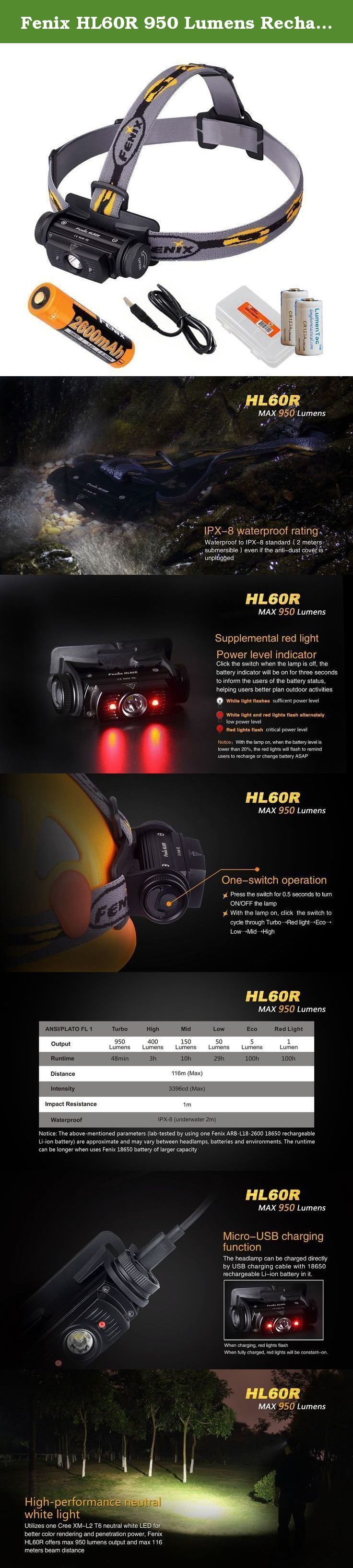 Fenix HL60R 950 Lumens Rechargeable LED Headlamp with Rechargeable 18650 Battery, USB Charging cable and LumenTac Organizer and Backup CR123As. The HL60R headlamp is the first USB rechargeable light in Fenix's HL Series. Operating off of one 18650 battery or two CR123A batteries, this light can stay in Turbo mode for nearly an hour and in Eco mode for over 100 hours. The Cree XM-L2 T6 neutral white LED bulb means superior definition and penetration in high-humidity environments. A 127…