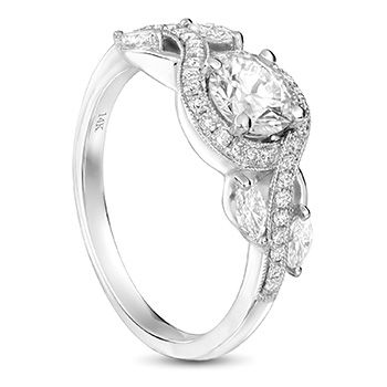 14ct white gold exclusive design engagement ring Marquise shape and Round brilliant diamonds