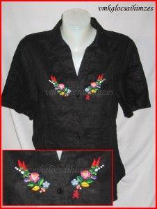 U. Krisztina kalocsai fekete lenvászon ing