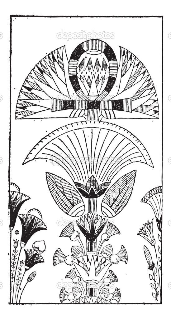 The 271 best egyptian artilld more images on pinterest egyptian lotus flower egyptian decoration with lotus flower design vintage engraving mightylinksfo