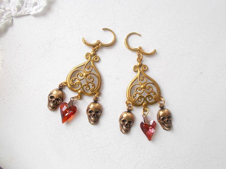 Swarovski Wild Heart Skull Chandelier Earrings by RicePaperJewels on Etsy