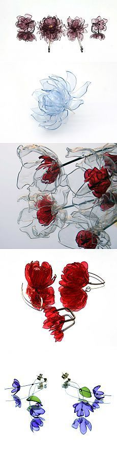 MOST AMAZING plastic bottle recycled flowers I've found get, assistant sure had instructions... but in Russian...