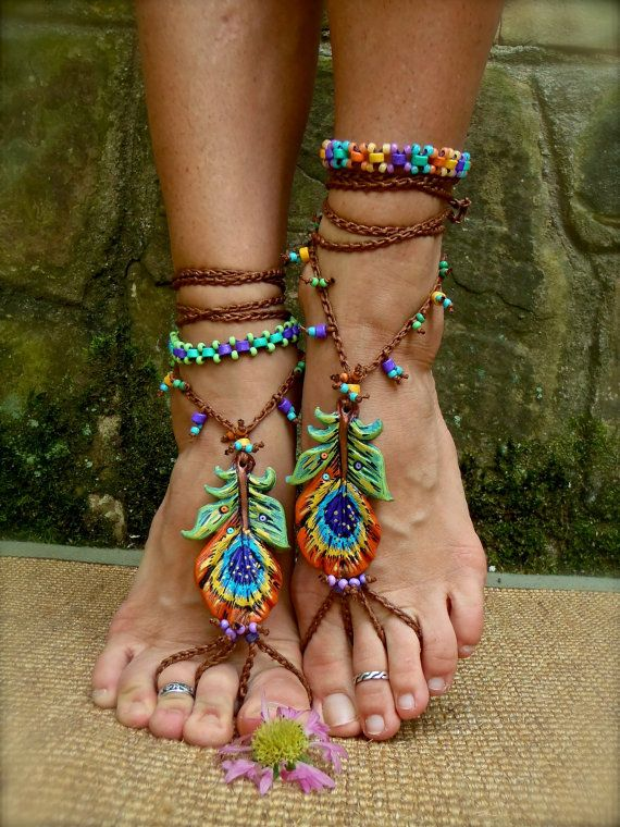 PEACOCK BAREFOOT sandals peacock feather beach wedding by GPyoga, on Etsy