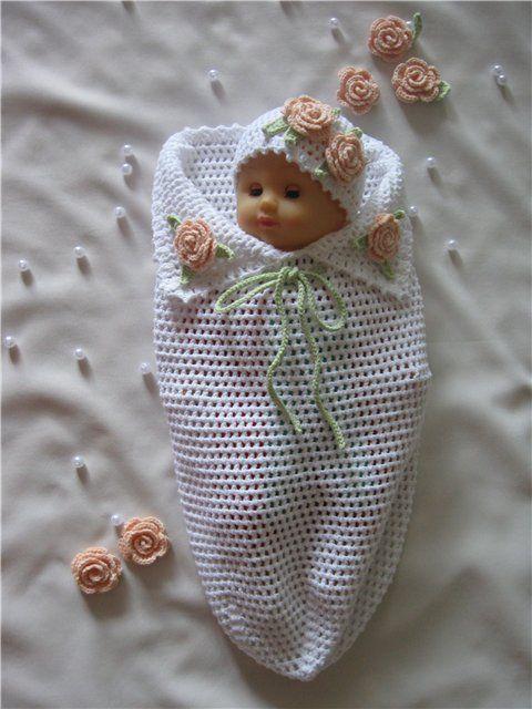 """Вяжем """"кокон"""" для новорожденного.."""