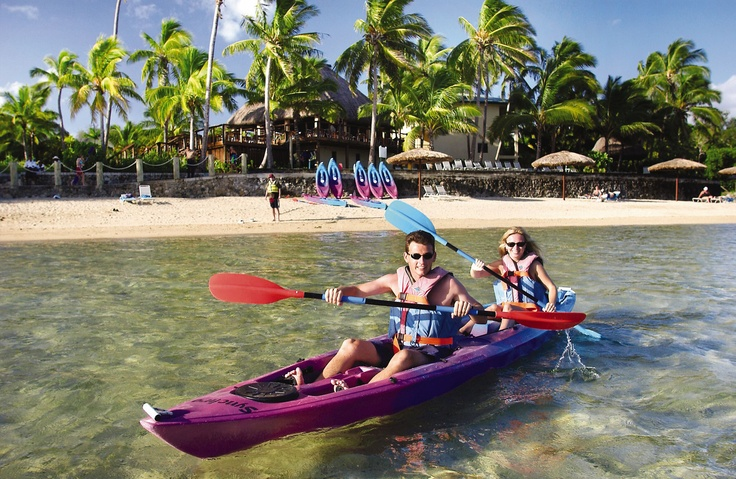Kayaking by the beach in Fiji