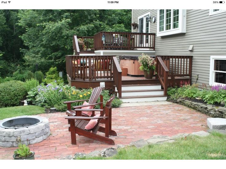 Two Tier Deck And Brick Patio With Firepit For The Home